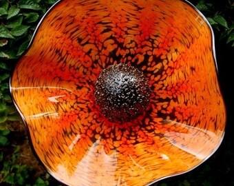 Small hand blown glass flower  - Orange
