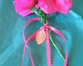 Sm Breast Cancer Awareness-  Hot Pink Paper Carnation Bouquet with Vintage Religious Medal