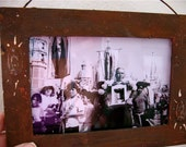 Vintage Guadalupe  Processional Photograph Antiqued Frame - a peek into Mexican history- ooak
