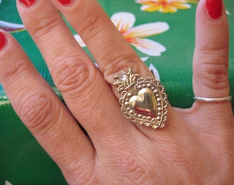 Silver SACRED HEART Intricate Milagros Ring- Perfect gift for the one you love