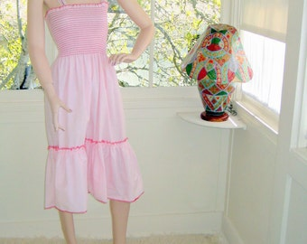 Lovely Pink Vintage Sundress with Accordion Bodice and Ribbon and Lace Straps NWOT