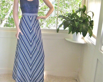 For the 70's Sophisticate -- Beautiful Vintage 70's Maxi Halter Dress by 'I. Magnin & Co.'