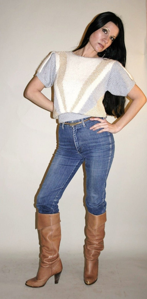 Vintage 80's ANGORA sweater w/ SHOULDER PADS Pretty and Soft