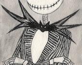 Jack Skellington Framed Hand-Inked Postcard (The Nightmare Before Christmas)