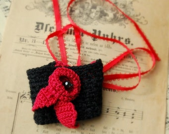 Crocheted bracelet. Black with Red rose. Halloween party
