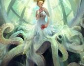 Ascension. octopus bride jellyfish steampunk underwater art print