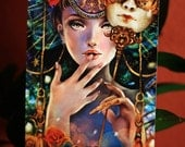 Brief Glimpse. venetian mask masquerade steampunk art print