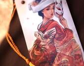 Fox Bride. bookmark fox japan red kimono art asian chinese