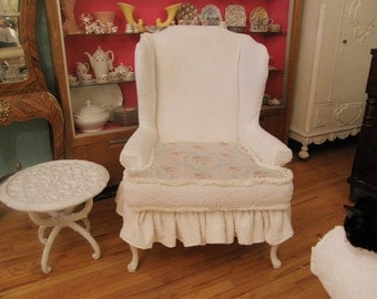 white shabby chic ruffle slipcovered wingback chenille bedspread vintage country cottage prairie