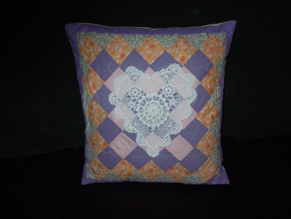 Quilted Pillow Cover - Upcycled Patchwork and Doily Throw Pillow