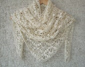 Reserved for Isabel  -  EXPRESS DELIVERY  Cream All Season Cotton Triangle Shawl