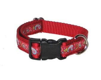 """Red Paisley Dog Collar - 3/4"""" Dog Collar, Martingale, Harness or Leash"""