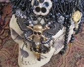 MARIPOSA NEGRA: Gothic Skull Butterfly on Beaded Choker Rosary One of a Kind OOAK Vintage Assemblage Black Wedding Bride