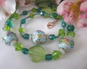 SALE,Colorful Vintage Venetian Glass Necklace,Italian Glass Necklace,Art Glass Necklace,Vintage Lampwork Beads,Venetian Glass Necklace,90102