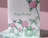 Clover Birthday Card, and Luck Card