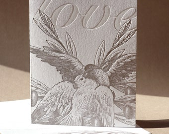 Love Card Doves with Olive Branches