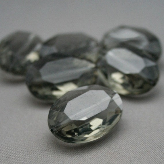 6 Vintage Lucite Acrylic Faceted Oval Gray Fancy Beads 25mm