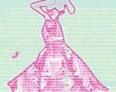 Coffee and Couture by Tanya Leigh - 8x10 Fashion Illustration Print (Magenta and Pale Blue)
