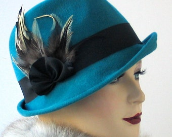 Teal hat- Women's Hat- Fall Fashion- Turquoise Hat- Winter Accessories- Hat With Feathers- Millinery- Handmade Hat- Trilby Hat- Gift For Her