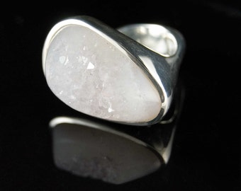 Ice Cone Ring, size 8, Sterling Silver with white Agate Drusy