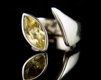 Lemon Citrine Marquise Ring, Sterling Silver Gemstone Ring, size 6 to 7