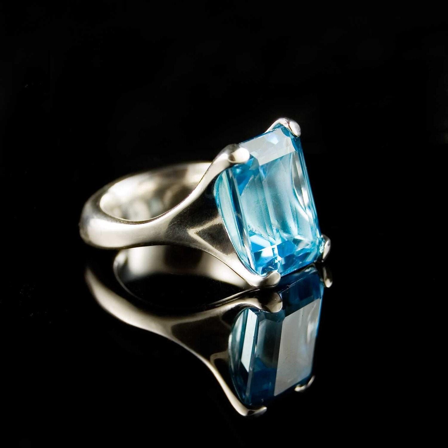 emerald cut ring swiss blue topaz rock in paw sterling silver