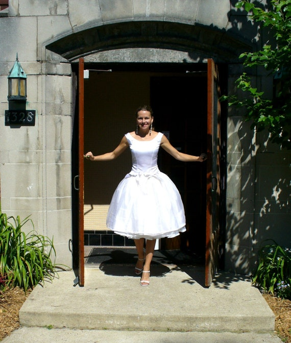 Miss Jane Grey's Dropped-waist Tea-length Wedding dress in pure silk satin and organza - pockets princess seams and free petticoat