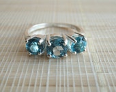 London Blue Topaz Three Stone Ring Sterling Silver December Birthstone