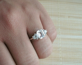 White Topaz Ring Three Stone Sterling Silver April Birthstone Made To Order