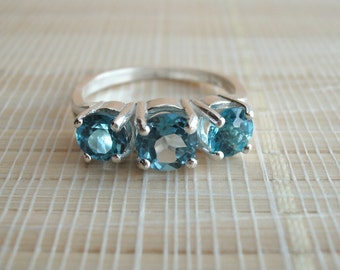 London Blue Topaz Three Stone Ring Sterling Silver December Birthstone
