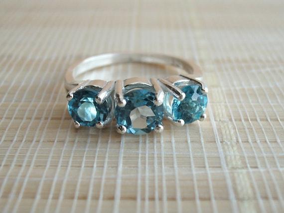 London Blue Topaz Ring Three Stone Sterling Silver December Birthstone