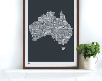 Australia Type Map - decorative screen print