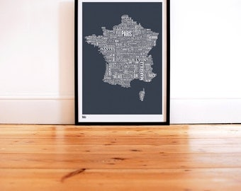 France Type Map - Decorative Screen Print