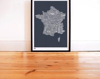 France Type Map - Decorative Screen Print