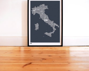 Italy Type Map - decorative screen print