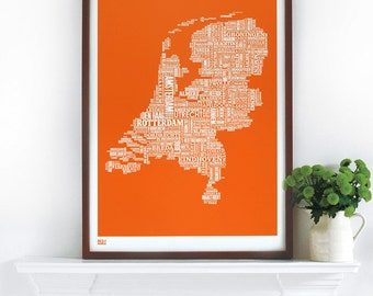 Netherlands Type Map - decorative screen print