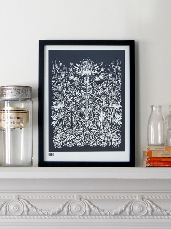 Sea Holly - decorative screen print