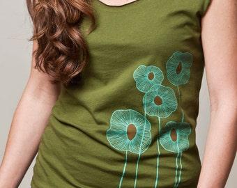 women's shirt, olive green shirt, scoop neck, cap sleeves, botanical screenprint, flytrap