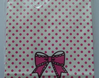 "Cute ""Just For You"" Japanese Paper Gift Bags / Party Bags With Pink Polka Dots And Bow"