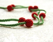 cherry  necklace from crochet beads, handmade textured long necklace in red and green - in boho style