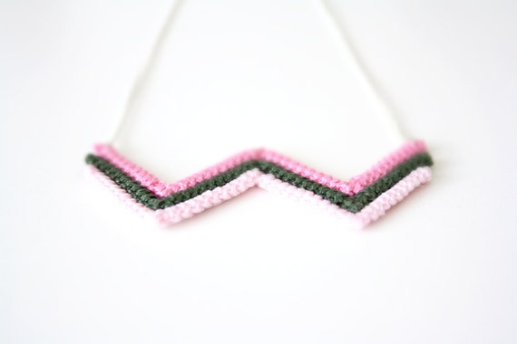 crochet zigzag, triangle, chevron necklace in pink tones and green - handmade with sterling silver chain
