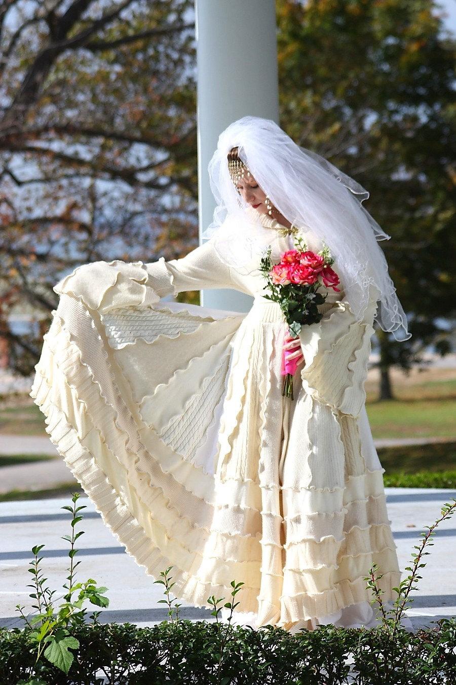Custom Couture Bridal Wedding Coat Upcycled Sweater Coat With