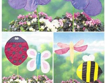 LAWN FLAG Sewing Pattern - Butterfly Ladybug Bumble Bee Firefly Garden Ornaments - OOP