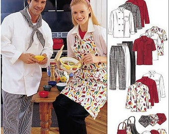 Plus Size CHEF APRON & Hat Sewing Pattern - Chef's Shirt Hats Neckerchief Aprons