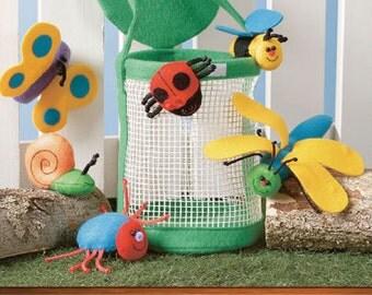 BUG BASKET & Puppet Sewing Pattern - Finger Puppets - Rare HTF Bugs