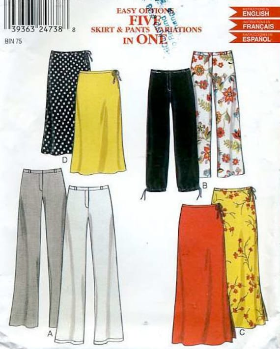 PANTS & SKIRTS Sewing Pattern - Five Variations in One EASY Pattern Size 6-16