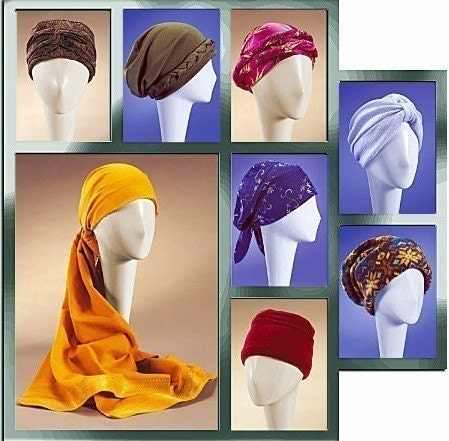 HATS TURBAN Sewing Pattern  Cancer Chemo Cap Hat Head Gear Sewing Patterns For Chemo Head Scarves