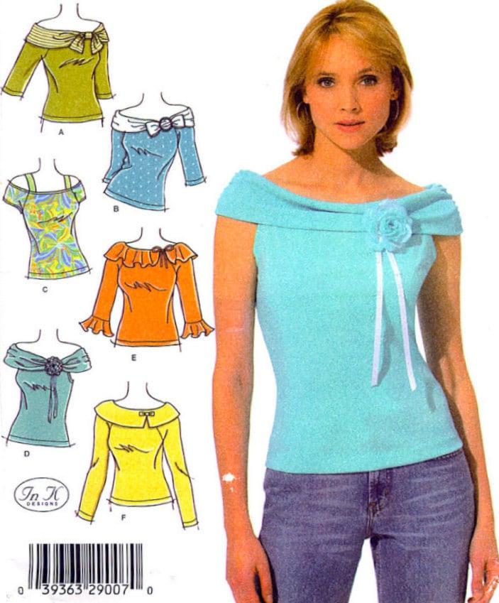 PLUS SIZE TOP Sewing Pattern Six Misses Knit Tops Uncut