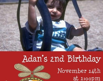 Helicopter Birthday Party Invitation -- 5x7 You Print