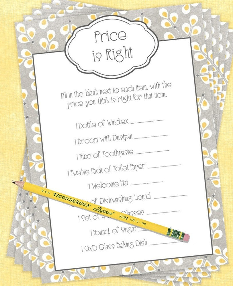 Bridal shower games deals on 1001 blocks for Price is right bridal shower game template